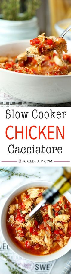 Slow Cooker Chicken Cacciatore - Fall into slow cooker season with this zesty Italian Slow Cooker Chicken Cacciatore Recipe. This delicious hunter style recipe only takes 10 minutes to prep! Recipe, chicken, slow cooker, stew, crock pot, dinner, hearty, h