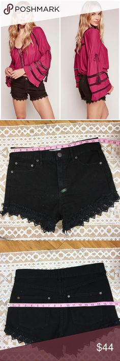 Free People Lacey Cut Off Shorts in Black Free People Lacey Cut Off Shorts in Black. Size 27. All measurements in listing photos. Good used condition. These are top rated On the Free People website. Picture of front makes them look like they have something on them... they do not! Not sure what happened. Free People Shorts Jean Shorts