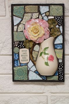 Mixed media mosaic Stop and Smell the Roses by Lisabetzmosaicart, $220.00