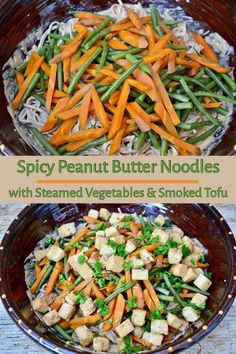 Spicy Peanut Butter Noodles with Steamed Vegetables and Smoked Tofu. A quick, healthy and tasty meal that all the family will enjoy. Veggie Recipes Healthy, Tofu Recipes, Potato Recipes, Vegetarian Recipes, Vegan Vegetarian, Free Recipes, Healthy Food, Tofu Dishes, Vegan Dishes