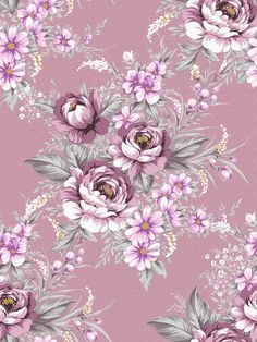 purple floral print vintage wallpaper