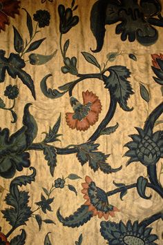 Close view of a C17th crewel work bed hanging from the Grey Room at Snowshill Manor, home of collector Charles Wade