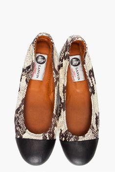 Hello lover!  Lanvin Cap toe snake skin ballet flats!