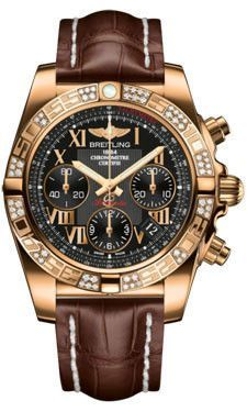 Breitling Chronomat 41 Rose Gold Diamond Bezel Croco Strap Deployant HB0140AA/BC08