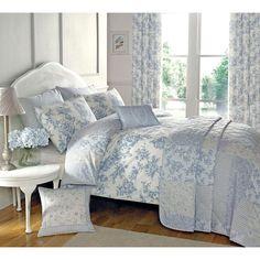 Traditional Toile Duvet Quilt Cover - Floral Bedding Set in Cream & Blue in Home, Furniture & DIY, Bedding, Bed Linens & Sets | eBay