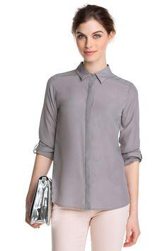 Esprit uni pitkähihainen harmaa kauluspaita polyester 49,95 e
