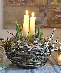 spring centerpiece candle nest garden basket with bulbs - cool!