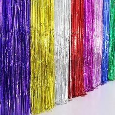 Hot Delicate Gold Foil Fringe Metallic Curtain Halloween Graduation Prom Party #