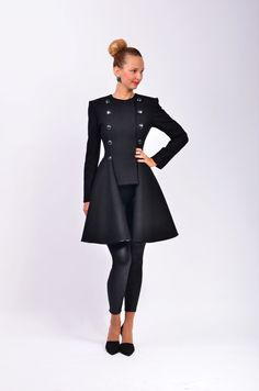 Black Rebecca 2 jacket with removable skirt by LauraGalic @ Etsy $220 Gorgeous