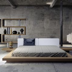 The Worth platform bed features a low profile hardwood frame with matching symmetrical nightstands.