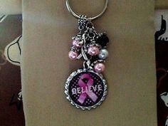 Breast Cancer Awareness Inspired Bottle Cap Charm Key Chain Handmade