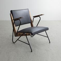 Lina Bo Bardi and Giancarlo Palanti; Iron, Wood and Leather Lounge Chair for Studio d'Arte Palma, 1960s.