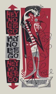 Derek Yaniger Pink & Black Ramones Hey Ho Lets Go Illustration Art And Illustration, Musik Illustration, Retro Kunst, Retro Art, Ramones, Hey Ho Lets Go, Arte Punk, Kunst Poster, Retro Cartoons