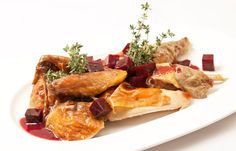 Roasted guinea fowl with beetroot, ginger and thyme