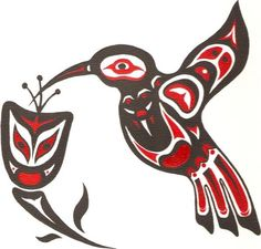 Native Hummingbird Art Northwest By clipart Inuit Kunst, Arte Inuit, Arte Haida, Haida Art, Inuit Art, Native American Symbols, Native American Design, Native Design, American Indian Art