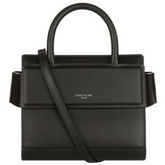 Givenchy Nano Leather Horizon Tote (3,820 AED) ❤ liked on Polyvore featuring bags, handbags, tote bags, genuine leather handbags, genuine leather tote bag, logo tote bags, genuine leather tote and leather tote purse
