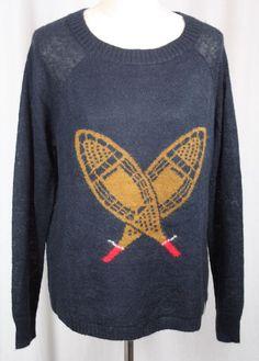 Woolrich Womens Navy Blue Snowshoe Design Long Sleeve Wool Blend Sweater Large #Woolrich #Crewneck #Versatile