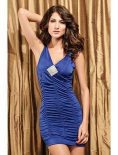Sexy Mini Dress Coat Rack Rhinestone Look Blue | Club Dresses | Clubwear | StringsAndMe