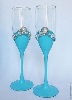 Купить Бокалы бирюзовые - бирюзовый, бирюзовая свадьба, свадебные бокалы…