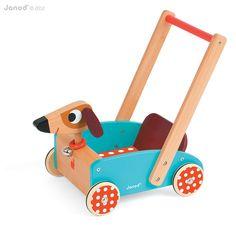Holzspielwaren für Laufanfänger | Hübscher Lauflernwagen Hund aus Holz, von Janod