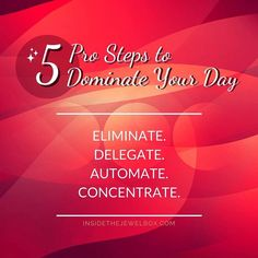 """#PRODUCTIVITY TIP: Toss out the endless """"to do"""" list. Identify just THREE big #wins you're going to have this week!   Follow these 5 steps to get it done:  1#Eliminate everything that isn't directly associated with accomplishing your 3 wins  2#Delegate anything that someone else can do for you.  3#Automate as much as possible while still connecting to people. (e.g. scheduled social media posts broadcast emails...) 4#Concentrate ALL your efforts on your 3 wins. All your distracting """"busy…"""