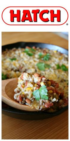 INGREDIENTS 1 pound lean ground beef 1 cup uncooked rice 1 garlic clove, minced 1 small onion, diced 1 cup roasted corn 1 (15 ounce) can pinto beans, drained and rinsed 1 (10 ounce) Hatch Diced Tomatoes & Jalapenos 1 (4 ounce) can Hot Hatch Roasted Green Chiles 1 teaspoon Taco Seasoning 2 cups Mexican Cheese Blend Fresh cilantro leaves for garnish Hatch Green Chili Recipe, Green Pepper Recipes, Green Chili Recipes, Ground Beef Rice, Ground Beef Tacos, Ground Beef Recipes, Beef Recipes For Dinner, Mexican Food Recipes, Rice And Beans Recipe