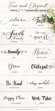 Free and Elegant Fonts for Farmhouse Signs <br> We all have those Joanna Gaines' moments when we want to go all out with the farmhouse chic style and rightfully so. Joanna's style is tra… Farmhouse Font, Farmhouse Signs, Farmhouse Chic, Free Font Design, Font Free, Free Fonts Download, Free Fonts For Cricut, Free Cursive Fonts, Best Handwriting Fonts