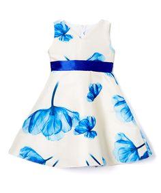 Blue & White Floral A-Line Dress - Infant, Toddler & Girls