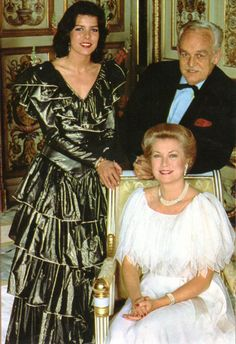 Princess Grace and Prince Rainier with their daughter, Princess Caroline. March 1981. Reportage by Alan Dejan.