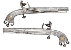 A pair of Scottish flintlock pistols crafted by I. Murdoch, late 18th century.