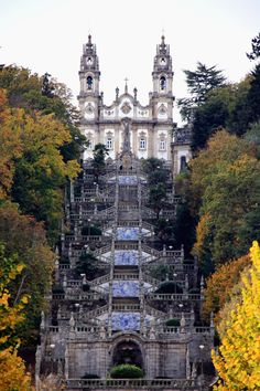 Nossa Senhora dos Remédios, Lamego, Portugal The awe-inspiring 686 step double stairway has 9 terraces leading to the twin-towered church. Douro Portugal, Portugal Travel, Spain And Portugal, Oh The Places You'll Go, Places Around The World, Places To Visit, Around The Worlds, Funchal, Culture Travel