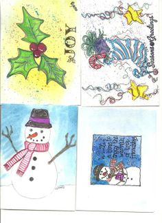 my homemade handpainted christmas cards.  Watercolor, paper piecing, stamping, embossing, pen and ink and pencil.  Some were inspired by the internet and others are my own creation.