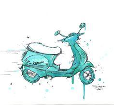 Watercolor and pen travel illustration - The Mint Vespa print