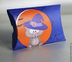 """Купить """"Хэллоуин"""" упаковка - фиолетовый, Хэллоуин, котик, упаковка, упаковка для подарка, Праздник, праздничное украшение"""