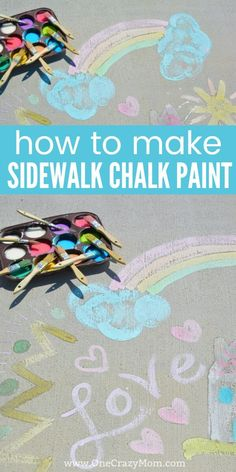 Make this fun and easy sidewalk chalk paint today. The kids will love using sidewalk paint to create artwork. Once you learn how to make this paint, it's so easy! Chalk Spray Paint, Sidewalk Chalk Paint, Chalk Art, Homemade Sidewalk Paint, Sidewalk Art, Painting For Kids, Diy Painting, Art For Kids, Children Painting