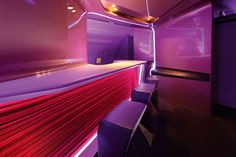 The Virgin Atlantic Airlines Upper Class bar. On Saturday 21st April the longest in the sky and cabin interior for Virgin Atlantic Airways took off from London Heathrow to New York's JFK and was a bit of a scene stealer. The project was four years in the making and involved the VW + BS studio in a whole new area of design but brought together all the elements of architecture, interior, product and lighting
