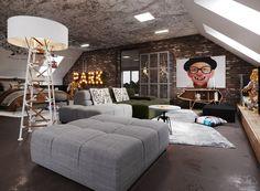 Johny Mrazko on Behance Student Room, Modern Industrial, Couch, Interior Design, Studio, Architecture, Warehouse, Furniture, Behance