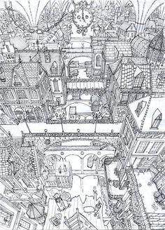 Coloriage d'une ville en vue aéroenne. Superbe :-) A vos crayons !