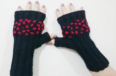 Black Knit Wool Gloves Christmas Gift Embroidered Fingerless Mittens Black Red Mittens Knitted Gloves Fancy Gloves Fingerless Women Under 50 by Hisliden on Etsy