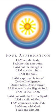 "Soul Affirmation. Replace 'god' for ""Source"". I AM THAT, I AM"