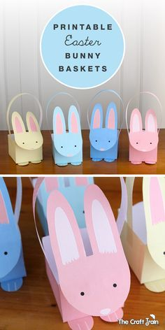 Free printable pastel bunny baskets for Easter