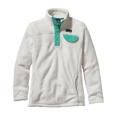Patagonia Girls\' Re-Tool Snap-T\u00AE Fleece Pullover - Raw Linen X-Dye w\/Aqua Stone RXAQ