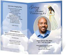 african american angel design funeral program template spiritual funeral programs faith based funeral program - Free Printable Funeral Program Template