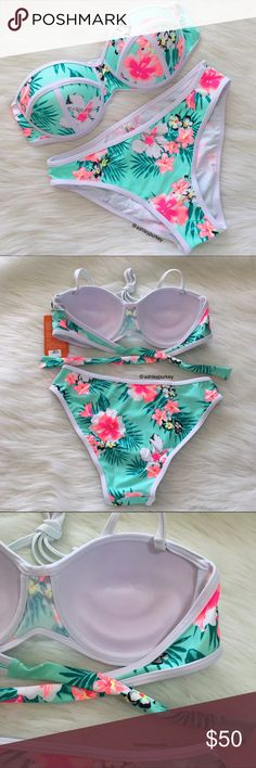 ❤️SALE❤️ mint, pink, and white floral bikini set ❤️ON SALE. PRICE IS FIRM❤️   •features: top: has a tie back and removable adjustable shoulder straps. top has push up padding.   •no trades  ❗️❗️ NOT from Victoria Secret (listed for visibility. real brand: