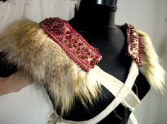 steampunk epaulettes faux fur shrug indian dream by radusport, $45.00
