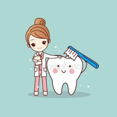 cartoon woman dentist brush clean teeth, great for dental care concept Illustration , Dentist Cartoon, Dentist Art, Dentist Logo, Tooth Cartoon, Humor Dental, Dental Hygienist, Dental Life, Dental Health, Dental Office Decor