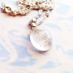 Silver Lace Resin Necklace Resin Pendant Resin Necklace Resin Jewelry Delicate Jewelry