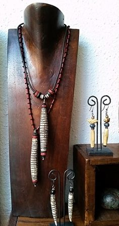 Handcarved Artifact Necklaces, with handcarved faux ivory pods, accented with antique trade beads by Luann Udell polymer clay ~ x