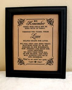 8 x 10 SIGN We Remember Those - Loved Ones/ Remembrance / In Memory Of - Wedding Sign - Single Sheet (Style: REMEMBER) on Etsy, $10.00