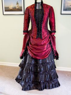 "1880's Victorian Dress, made with Burda pattern 7880  My daughter wants a Dr Who ""Tardis"" dress in this pattern."